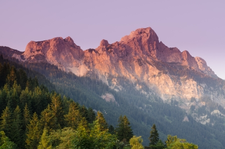 rote: Mountain rote fluh in  Tirol Austria with afterglow Stock Photo