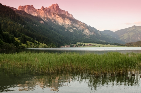 tal: Lake and mountain in Tirol with afterflow
