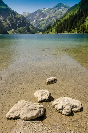 vertical format: Lake Vilsalpsee and mountain Tirol Austria in vertical format Stock Photo