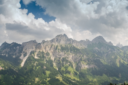rote: Mountains Gimpfel and Rote  with blue sky and clouds in Tirol Austria