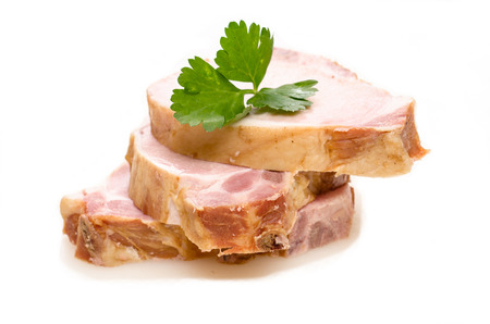Smoked pork chops with green parsley