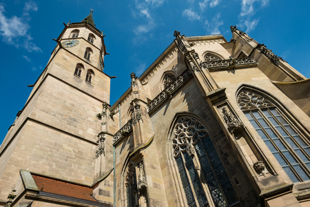 church steeple: Protestand church with steeple in Schorndorf with worm`s eye view