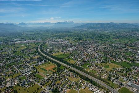 Aerial view of Bregenz, Dornbirn and Hard with Säntis mountain in Switzerland