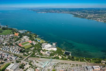 호수 콘 스턴 스 Bregenz 호수 무대에서 독일 호반의 전망을 공중보기 스톡 콘텐츠