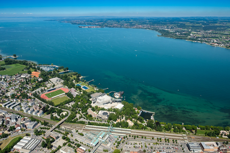 Aerial view of lake constance with Bregenz an lake stage with view to German lakeshore