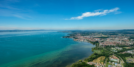 Aerial view at the city of Friedrichshafen at Lake Constance in summer