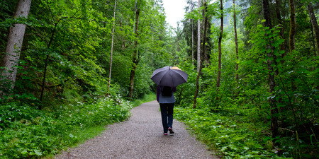 Woman with umbrella on a hiking trail in the rain of Bavaria