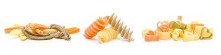 Different forms of pasta durum wheat semolina on white