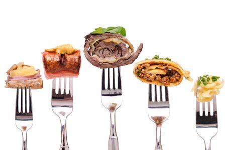 German food specialites on food white isolated Stockfoto