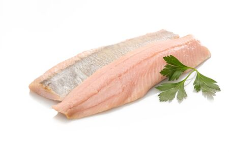 Salted herring with green parsley white isolated