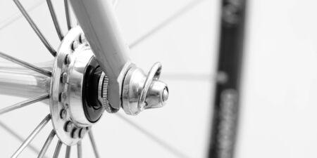 Setscrew at a hub at a biycicle as close-up Banque d'images