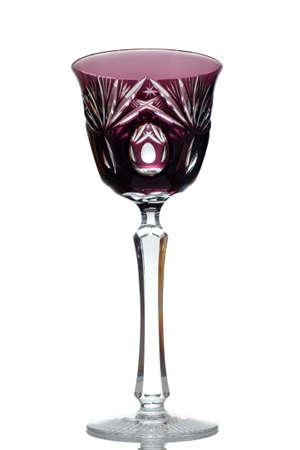 Crystal wine glass purple colored in back lit Zdjęcie Seryjne