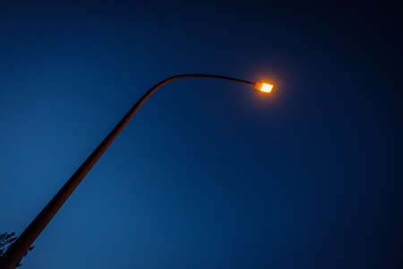 Street lights with blue sky in dawn
