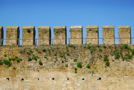 loopholes: fortress wall with loopholes Stock Photo