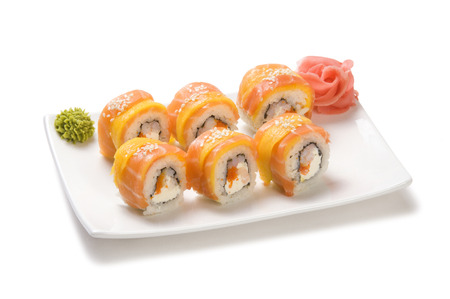 Rolls with salmon and mango Stock Photo - 23904925
