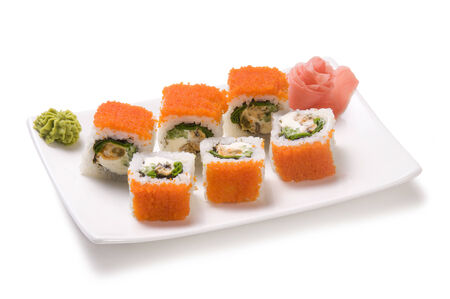 roll with seafood and fish roe Stock Photo - 23905519