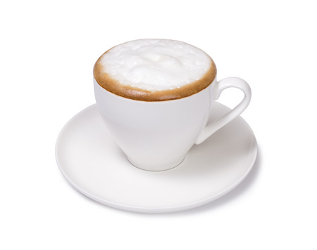 frothy: cup of cappuccino isolated Stock Photo