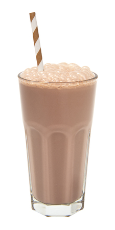 chocolate milkshake in a tall glass isolated on white