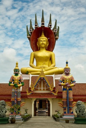 godhead: Large golden Buddha Image with its two giant front Stock Photo