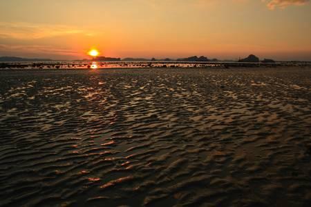 klong: Sunset at Klong Muang Beach, Krabi, Thailand Stock Photo