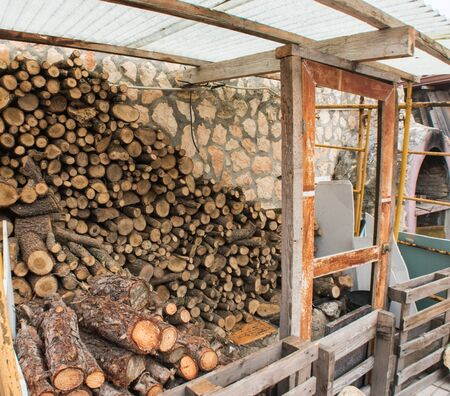 private woodshed prepared for the arrival of winter