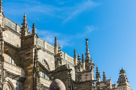 side of the gothic cathedral of Astorga in summer Imagens