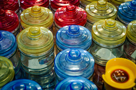many colored: many colored glass jars