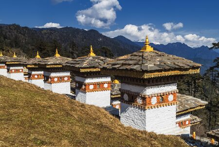 108 Memorial Chortens of Dochula Pass in Thimphu, Bhutan