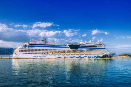 Kerkira, Corfu/ Greece - September 24 2018 : AIDAblu, a Sphinx-class cruise ship, operated by the German cruise line, AIDA Cruises in the sea port of Kerkira, the capital of Corfu, Greece. Redakční