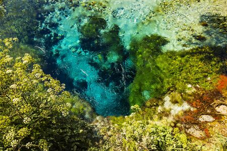 Beautiful bright turquoise spring Blue Eye (Syri i Kalter) Saranda, Albania, river Bistrice. Top view with pebbles, stones and plants around. Can be used as abstract nature water background.