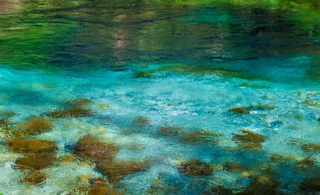 Beautiful turquoise spring Blue Eye (Syri i Kalter) Saranda, Albania, river Bistrice. Can be used as abstract water background