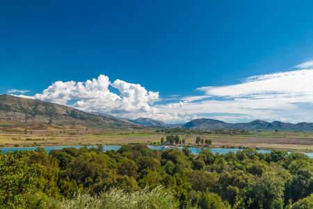 Panorama of Lake Butrint, wild landscape of Butrint area, in the south of Albania, Europe.