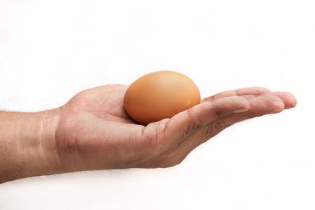hand met ei geïsoleerd op een witte achtergrond