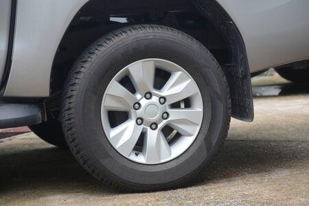 Car wheel on a car