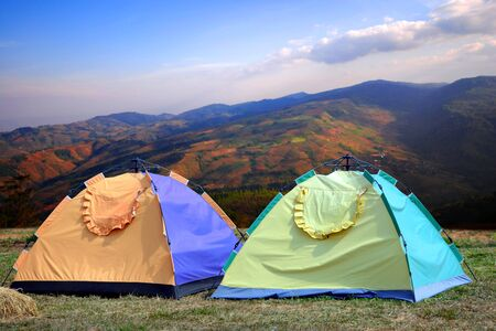 Two tourist tents in Carpathian mountains