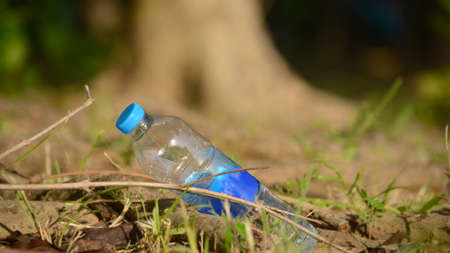 a plastic bottle lies on grass in nature like garbage