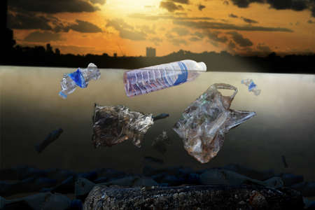 Underwater plastic bags and bottles in the lagoon (Environment concept)