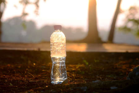 Drinking bottles were thrown on the ground, a problem and environmental pollution at the park in an evening with an orange glow. 免版税图像