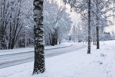 icy conditions: Snowy motor road