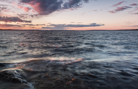afterglow: Beautiful afterglow in the lake Stock Photo