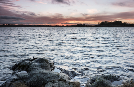 diciembre: December view of the lake in Finland