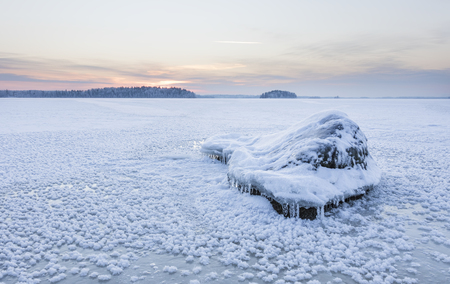 Icy lake at the blue moment