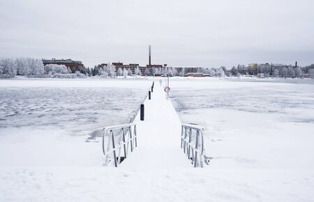 wintery day: Empty wintry wharf in Tampere Finland