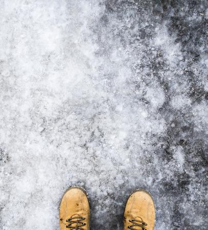 Shoes on Dangerous slippery street Stock Photo