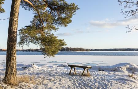 Vue hivernale sur le lac Banque d'images - 53661980