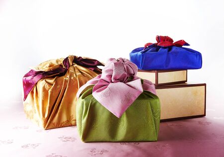 Luxurious and colorful Korean traditional gifts.