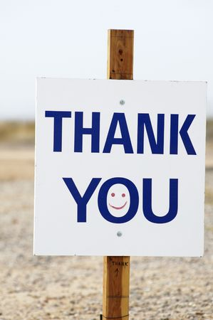 thank you sign with happy face