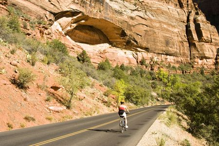 sightseers: biking on the scenic drive along the Virgin River in Zion National Park in southwest Utah. Stock Photo