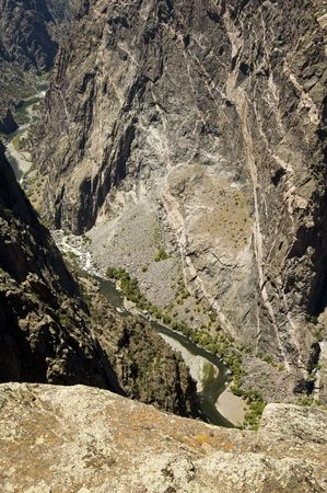 viewpoint: a scenic view of the Gunnison River and painted wall in Black Canyon of the Gunnison National Park