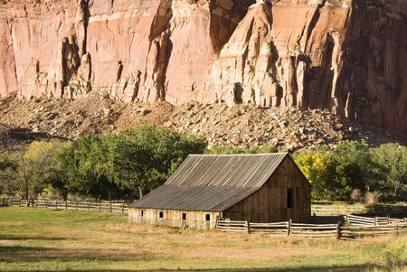 buttresses: scenic view of Gifford farm in Capital Reef National Park Stock Photo